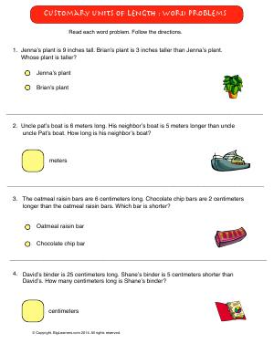 Preview image for worksheet with title Customary Units of Length : Word Problems