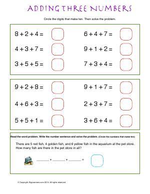 make ten with three addends first grade math worksheets. Black Bedroom Furniture Sets. Home Design Ideas