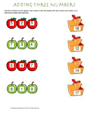 Preview image for worksheet with title Addition Three  Numbers