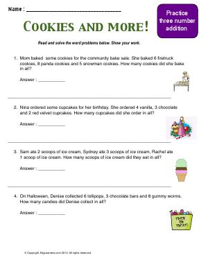 Preview image for worksheet with title Cookies and More!  (Three Number Addition)
