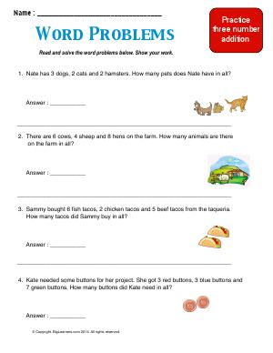 Preview image for worksheet with title Word Problems ( Three Number Addition )