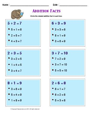 Preview image for worksheet with title Addition Facts