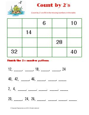 Preview image for worksheet with title Count by 2's