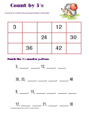 Preview image for worksheet with title Count by 3's