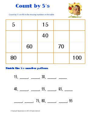 Preview image for worksheet with title Count by 5's