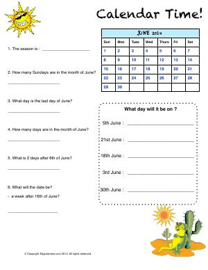 Preview image for worksheet with title Calendar Time!