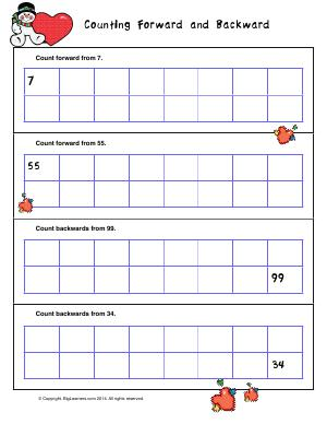 Preview image for worksheet with title Counting Forward and Backward