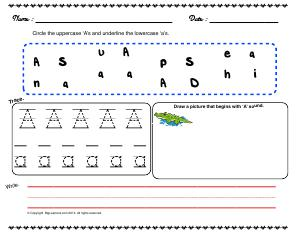 Preview image for worksheet with title Letter 'Aa'