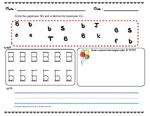 Preview image for worksheet with title Letter 'Bb'