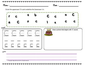 Preview image for worksheet with title Letter 'Cc'