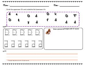 Preview image for worksheet with title Letter 'Dd'