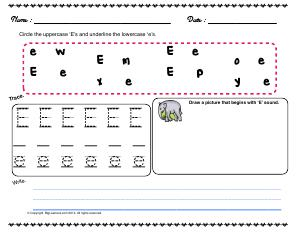 Preview image for worksheet with title Letter 'Ee'