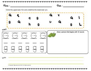 Preview image for worksheet with title Letter 'Gg'