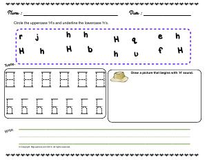 Preview image for worksheet with title Letter 'Hh'