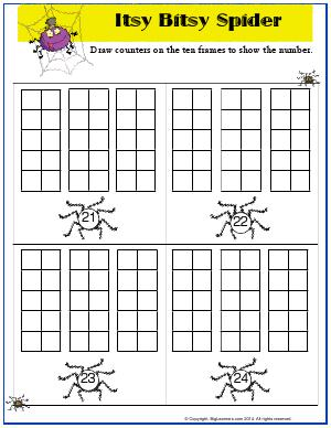 Preview image for worksheet with title Itsy Bitsy Spider ( 21-24)