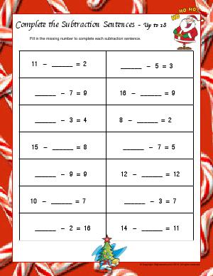 Preview image for worksheet with title Complete the Subtraction Sentences - Up to 18