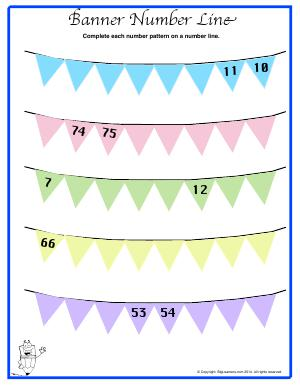Preview image for worksheet with title Banner Number Line