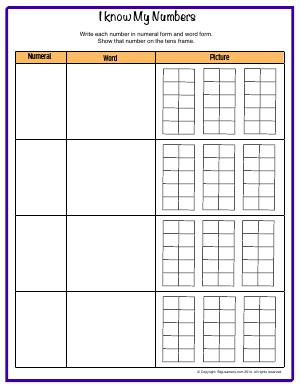 Preview image for worksheet with title I Know My Numbers