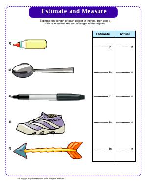 Preview image for worksheet with title Estimate and Measure