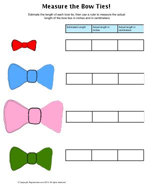 Preview image for worksheet with title Measure the Bow Ties!