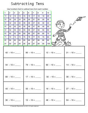 Preview image for worksheet with title Subtracting Tens