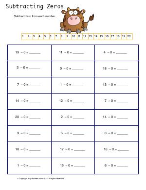 Preview image for worksheet with title Subtracting Zeros ( Mental Math )