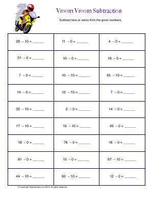 Preview image for worksheet with title Vroom Vroom Subtraction