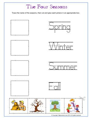 Preview image for worksheet with title The Four Seasons