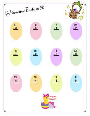 Preview image for worksheet with title Subtraction Facts to 20 ( Easter Theme )