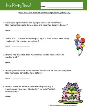 Preview image for worksheet with title It's Party Time!