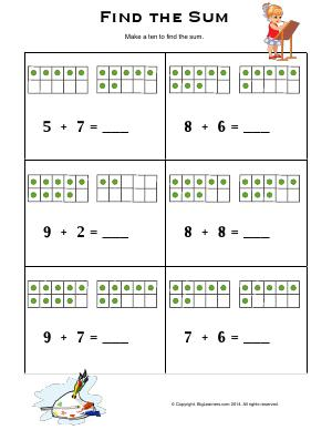 Preview image for worksheet with title Find the Sum ( Ten Frames )