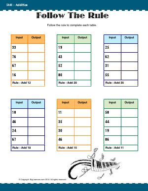 Preview image for worksheet with title Follow the Rule ( 2 - Digit Addition )