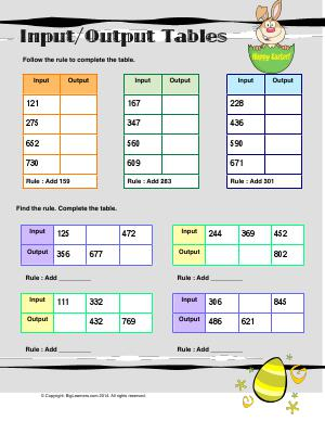 Preview image for worksheet with title Input /Output Tables ( 3 - Digit  Addition )