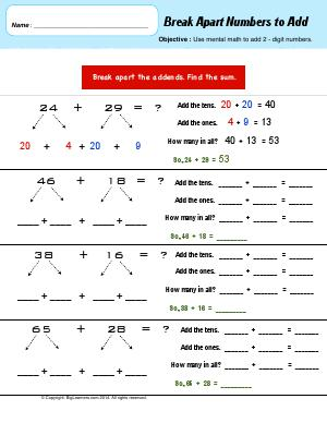 Preview image for worksheet with title Break Apart Numbers to Add