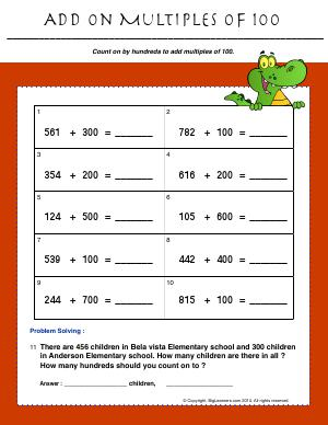 Preview image for worksheet with title Add on Multiples of 100