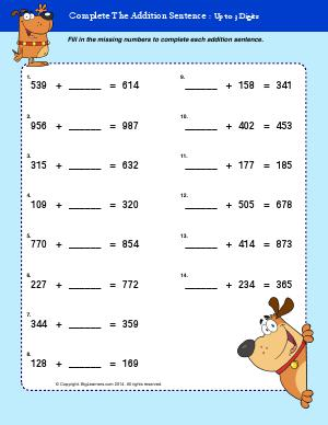 Preview image for worksheet with title Complete the Addition Sentence - UP to 3 Digits
