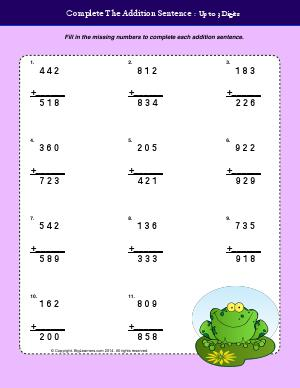 Preview image for worksheet with title Complete the Addition Sentences - Up to 3 Digits