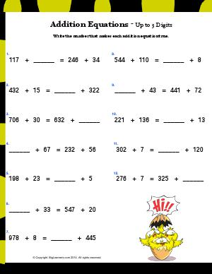 Preview image for worksheet with title Addition Equations - Up to 3 Digits