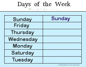 Preview image for worksheet with title Days of the Week