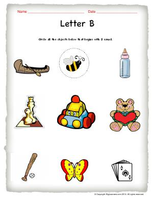 Preview image for worksheet with title Letter B