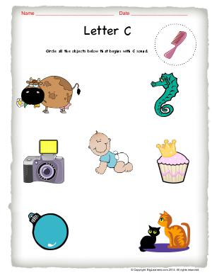 Preview image for worksheet with title Letter C