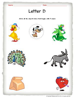 Preview image for worksheet with title Letter D