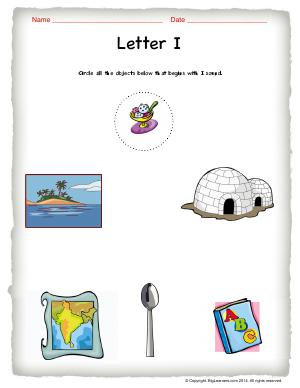Preview image for worksheet with title Letter I