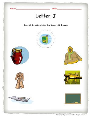 Preview image for worksheet with title Letter J