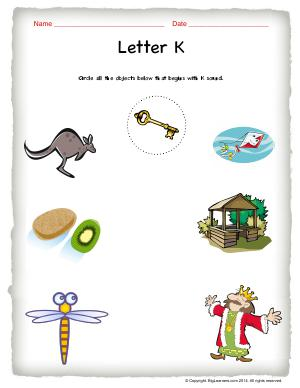 Preview image for worksheet with title Letter K