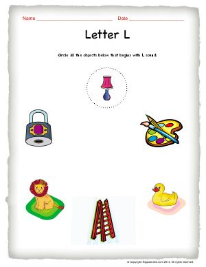 Preview image for worksheet with title Letter L
