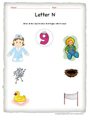 Preview image for worksheet with title Letter N