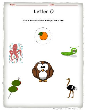 Preview image for worksheet with title Letter O