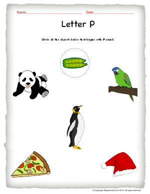 Preview image for worksheet with title Letter P