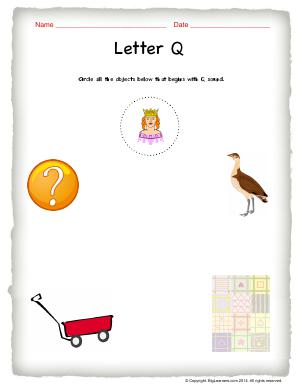 Preview image for worksheet with title Letter Q